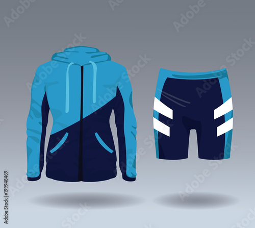 Poster Fitness sport wear jacket and short for female vector illustration graphic design