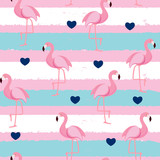 Cute Retro Seamless Flamingo Pattern Background Vector Illustration