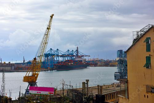 Fotobehang Liguria port of Genoa, Italy
