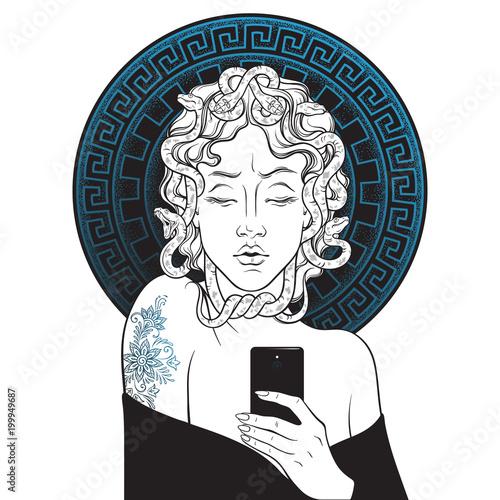 Medusa Gorgon selfie hand drawn line art and dot work pop print design isolated vector illustration.