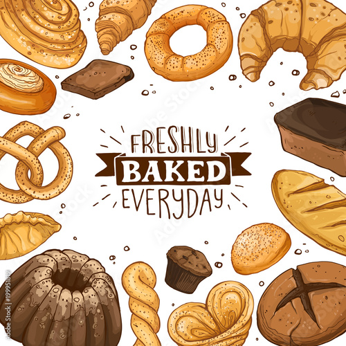 Freshly baked everyday lettering. Square frame composition from hand drawn bread. Vector illustration for bakery shops. Fresh bread around text banner design.
