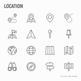 Location thin line icons set: pin, pointer, direction, route, compass, wall needle, cursor, navigation, gps, binoculars. Modern vector illustration. - 199953048