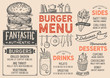 Burger restaurant menu. Vector food flyer for bar and cafe. Design template with vintage hand-drawn illustrations.