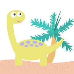 Happy cute Brachiosaurus dinosaurs cartoon with coconut tree in a pastel colored tone isolated on white background. Vector illustration.