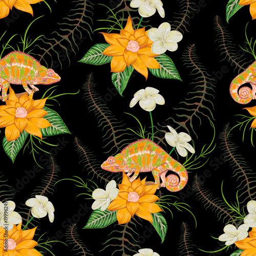 Fototapeta Seamless pattern with tropical flowers, leaves and chameleon. Exotic botanical background. Vector illustration in watercolor style