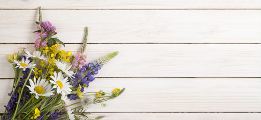 Wild flowers on old grunge white wooden background (chamomile lupine dandelions thyme mint bells rape)