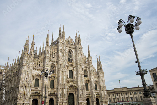 Deurstickers Milan Milan Cathedral, Duomo di Milano, Italy, one of the largest churches in the world on sunrise