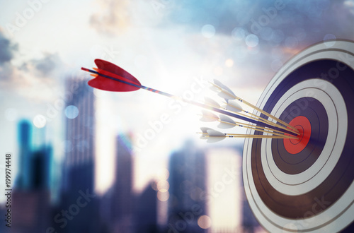 Arrow hit the center of target with modern skyscraper background. Business target achievement concept. 3D Rendering - 199974448