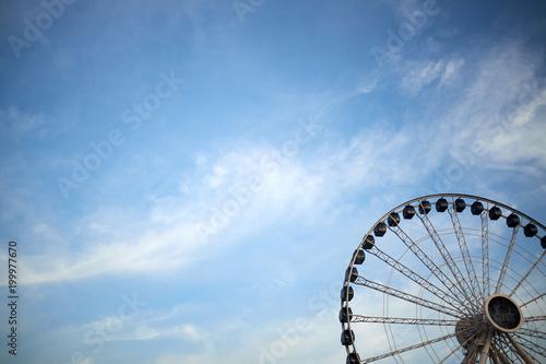 Poster Chicago Ferris wheel against blue sky