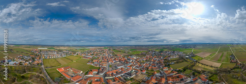 Poster Panoramafoto s 360° Luftbild Panorama Dirmstein Rheinlandpfalz