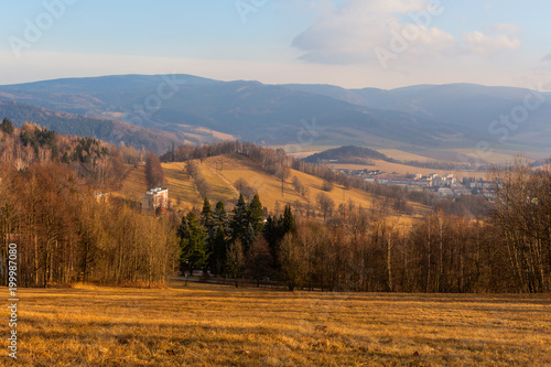 Fotobehang Blauwe hemel Summer landscape in mountains and the dark blue sky with clouds