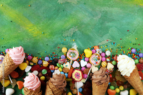 Foto Murales candies with jelly and sugar. colorful array of different childs sweets and treats.