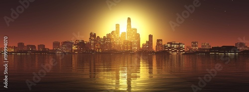 panorama of a night city at sunset over the water