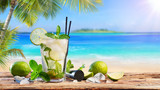 Fresh Mojito Drink On Table In Tropical Beach - 200001800
