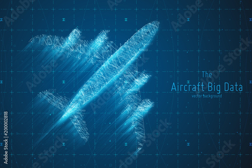 Vector abstract plane big data graph visualization. Aircraft infographics aesthetic design. Visual information complexity. Intricate engineering data scheme. Travel, tourism, transport analytics.