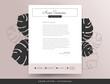 Feminine letterhead cover letter design template vector mockup