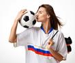 Fan sport woman player in russian uniform hold soccer ball celebrating kissing