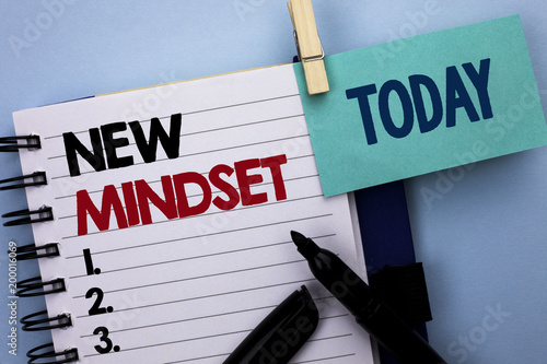 Conceptual hand writing showing New Mindset. Business photo text Attitude Latest Concept Vision Behaviour Plan Thinking written on Notebook Book on plain background Today Marker next to it