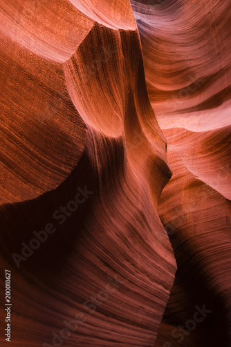 Fotobehang Rood traf. Lower Antelope Canyon with bizarre forms of red sandstone washed up with water in Arizona - unique place for tourists