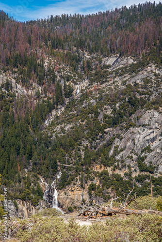 waterfalls and rivers through the mountains at yosemite  - 200022491