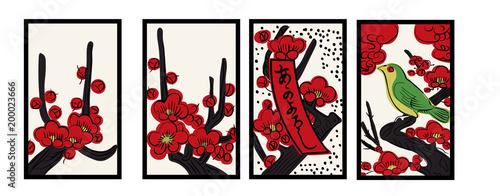 花札のイラスト 2月梅 梅に鶯 日本のカードゲーム  ベクターデータ  手描き・フリーハンド