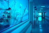 Hospital hallway with observation window to the ward with reflecting equipment and silhouette of female doctor in the end of hallway - 200023885