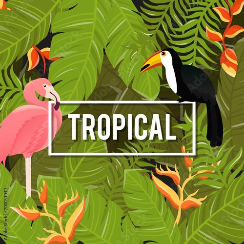 Tło tropikalnych kwiatów. Letni projekt. Wektor.