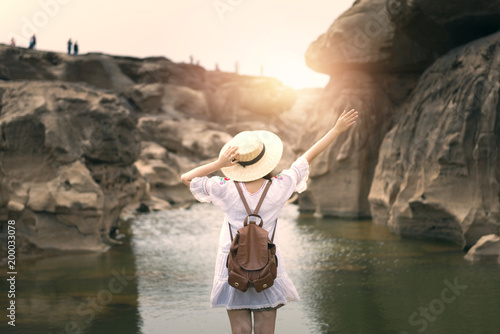Woman is enjoy travel at Canyon of Thailand