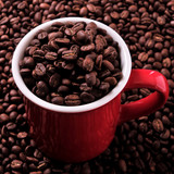 Red coffee mug filled with beans - 200033830