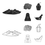 Eastern sweets, Ramadan lamp, Arab sheikh, territory.Arab emirates set collection icons in black,outline style vector symbol stock illustration web. - 200037098