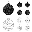 New Year Toys black,outline icons in set collection for design.Christmas balls for a treevector symbol stock web illustration. - 200037476