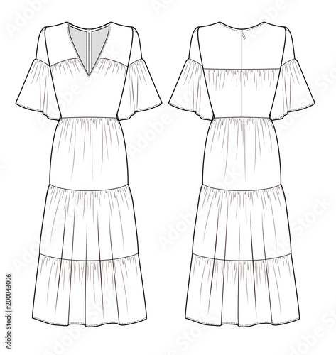 MAXI DRESS fashion vector illustration flat sketches template | Buy ...