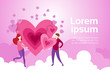 Couple Hold Hands Over Heart Shape On Pink Clouds Background With Copy Space Valentine Day Banner Flat Vector Illustration - 200043259