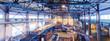 Leinwandbild Motiv Fiberglass production industry equipment at manufacture background, wide-focus lens