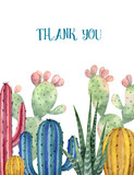 Watercolor vector card of cacti and succulent plants isolated on white background. - 200043862