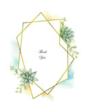 Watercolor vector composition of cacti and succulent plants and gold geometric frame. - 200043893