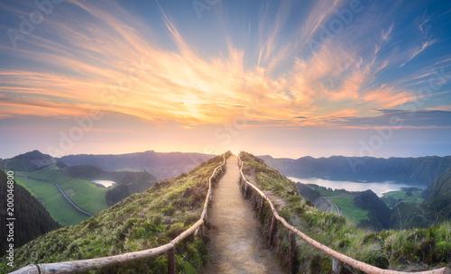 Leinwanddruck Bild Mountain landscape Ponta Delgada island, Azores