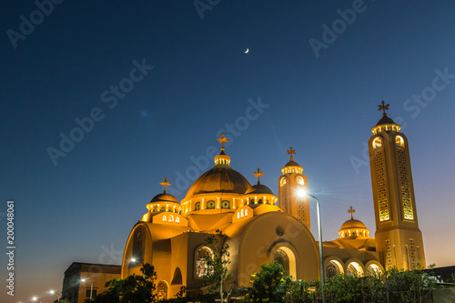 Foto op Plexiglas Kiev Coptic Orthodox Church in Sharm El Sheikh, Egypt. night