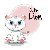 Cartoon kitty with lettering Cute Lion.