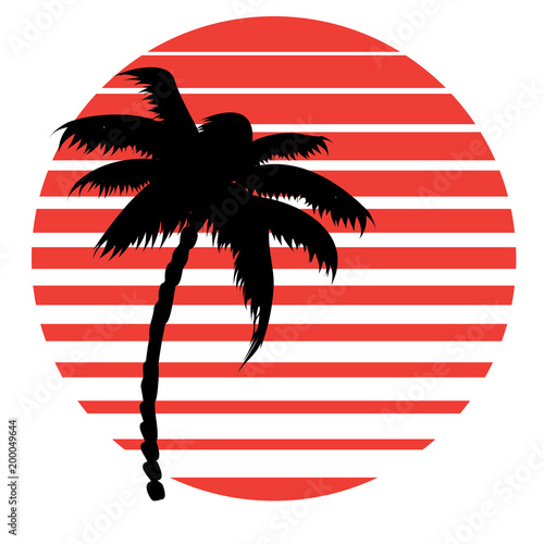 Aluminium Vintage Poster Retro striped sun and palm