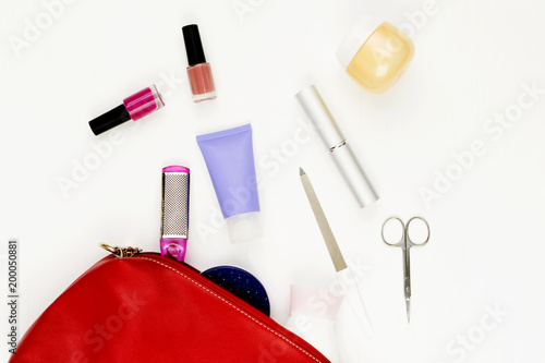 Plexiglas Pedicure Manicure bag and tools, leg's nail careconcept on white background. Flat lay