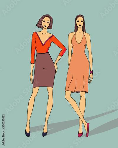 Ilustracja moda pięknych dziewczyn