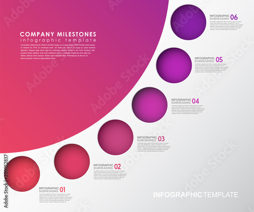 Infographic template with five colorful shapes and icons.