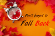 Fall back, the end of daylight savings time and turn clocks back on hour concept with a clock surrounded by dried yellow leaves with the text Don't forget to fall back