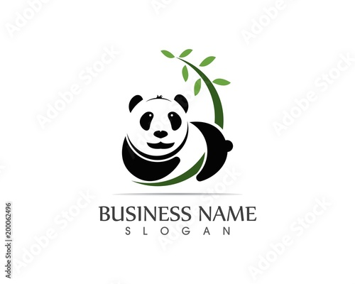 Cute panda logo vector illustration