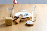 scrubbing and cleaning dishes with homemade washing detergent, still-life - 200063880
