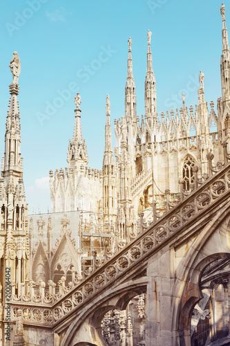 Deurstickers Milan Roof of Milan's Duomo. Gothic architecture with spires and arches.