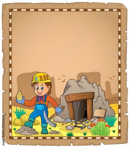 Poster Voor kinderen Miner theme parchment 2