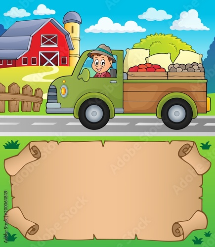 Poster Voor kinderen Small parchment and farm truck