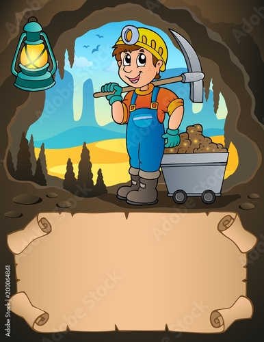 Poster Voor kinderen Small parchment and miner with cart